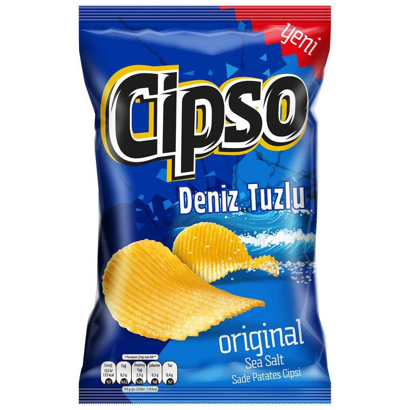 Cipso Classic Sea Salt Potato Chips (Tırtıklı Sade Patates Cipsi) 110g