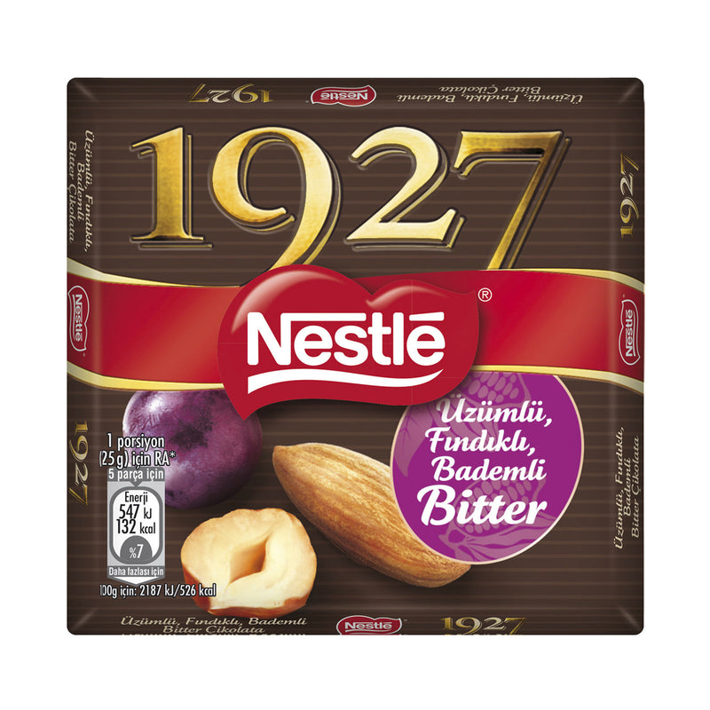 Nestle 1927 Bitter Chocolate with Grapes, Hazelnuts, Almonds (Üzüm Fındık Badem Bitter Çikolata) 65g