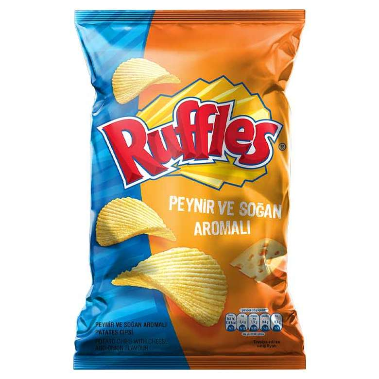Ruffles Cheese and Onion Potato Chips (Cips Pat. Peynir Ve Soğan) 107g