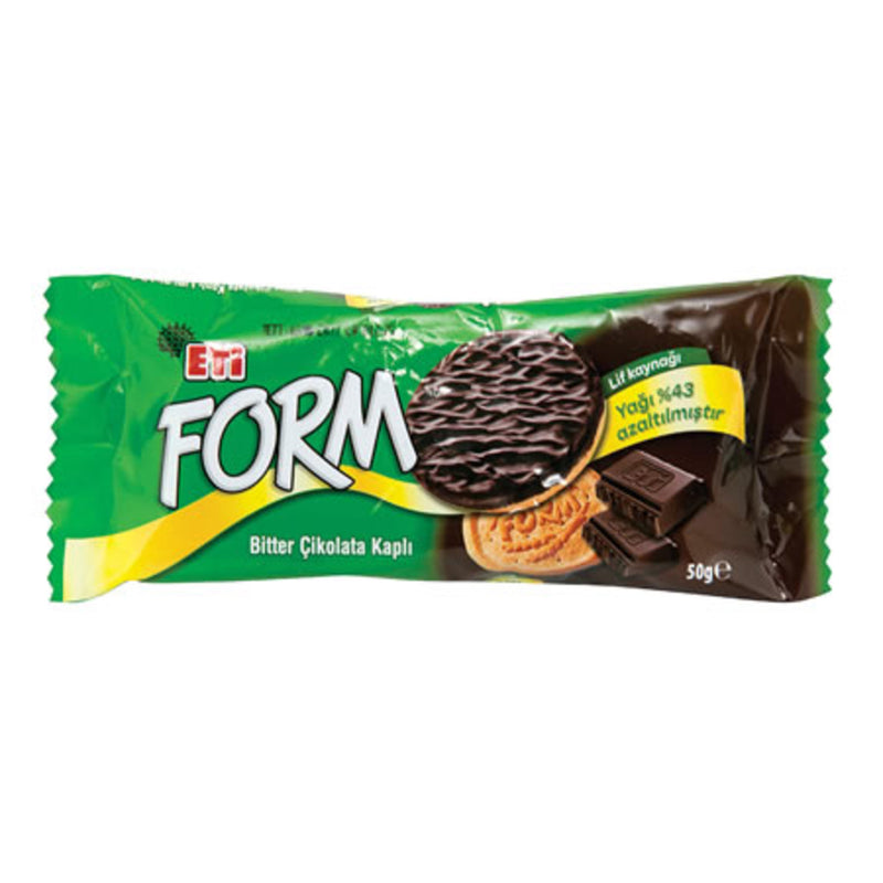 Eti Form Dark Chocolate-Coated Fiber Biscuits (Bisküvi Çikolata Kaplı Lifli) 56g