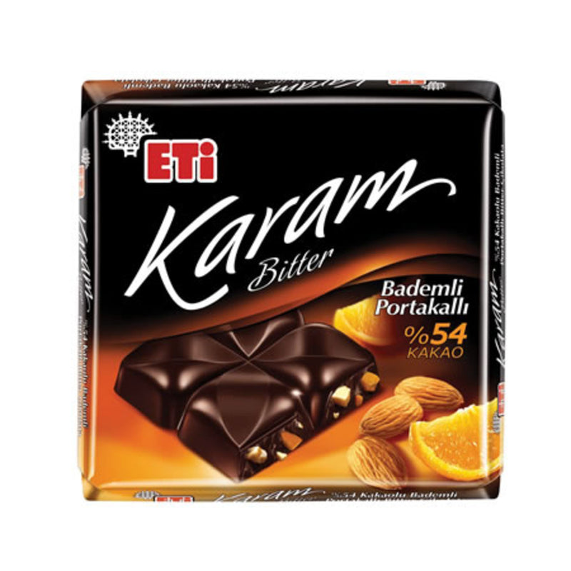 Eti Karam 54% Bitter Chocolate with Almond & Orange (Bitter Bademli Portakallı Kare Çikolata) 70g