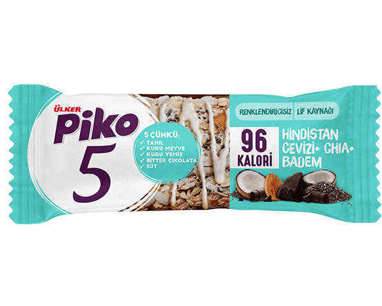 Ülker Piko 5 Coconut, Chia, and Almond Bar (Hindistan Cevizi & Chia & Badem Bar) 20g