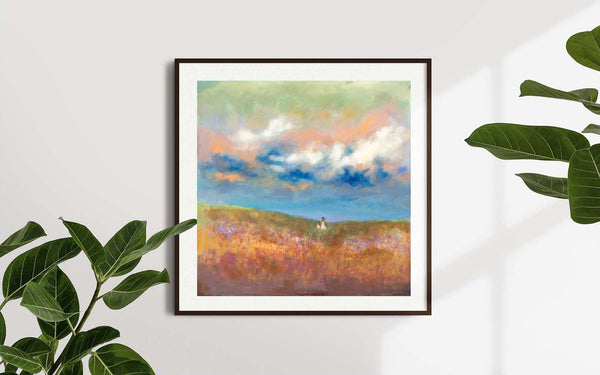 mother and child blue landscape print