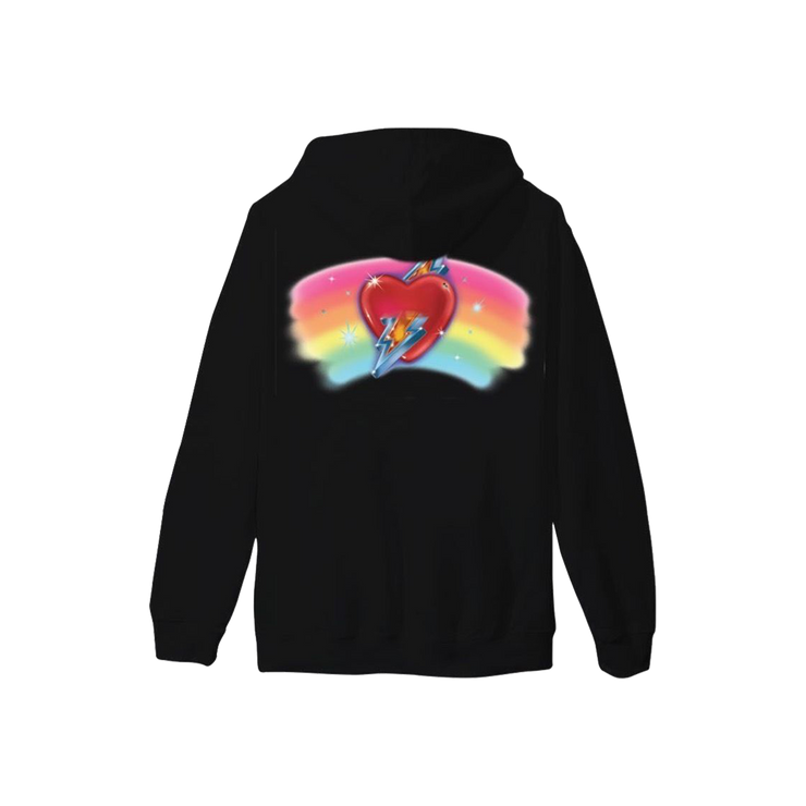 Embroidered Rainbow Heart Hoodie - Black