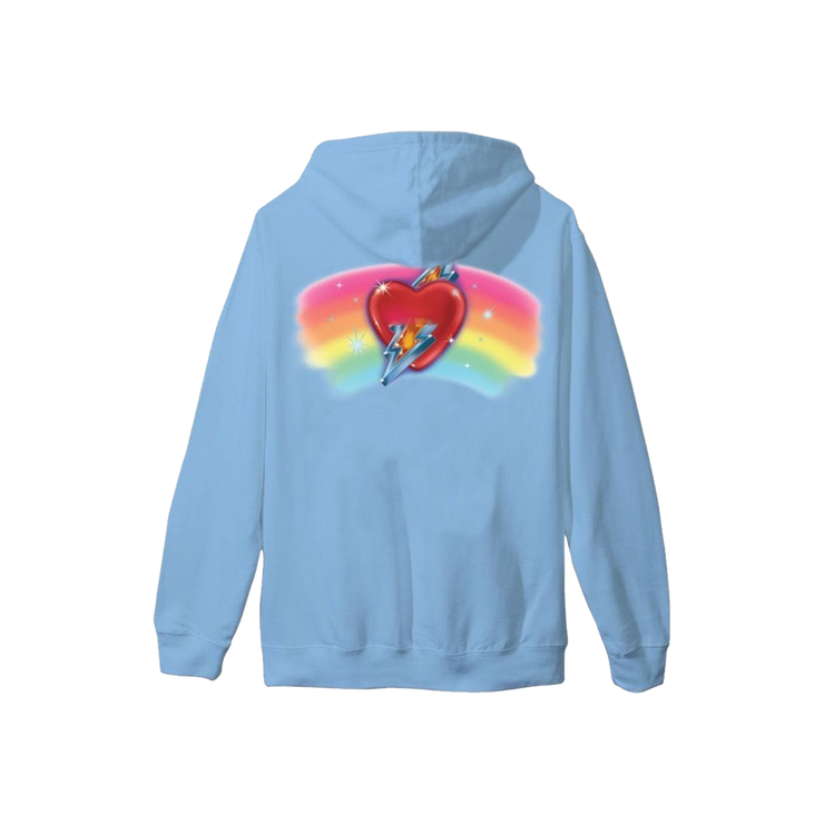 Embroidered Rainbow Heart Hoodie - Blue