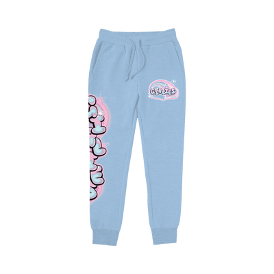 Airbrush Logo Joggers Light Blue