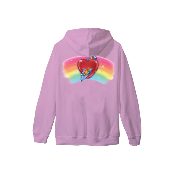Embroidered Rainbow Heart Hoodie - Pink