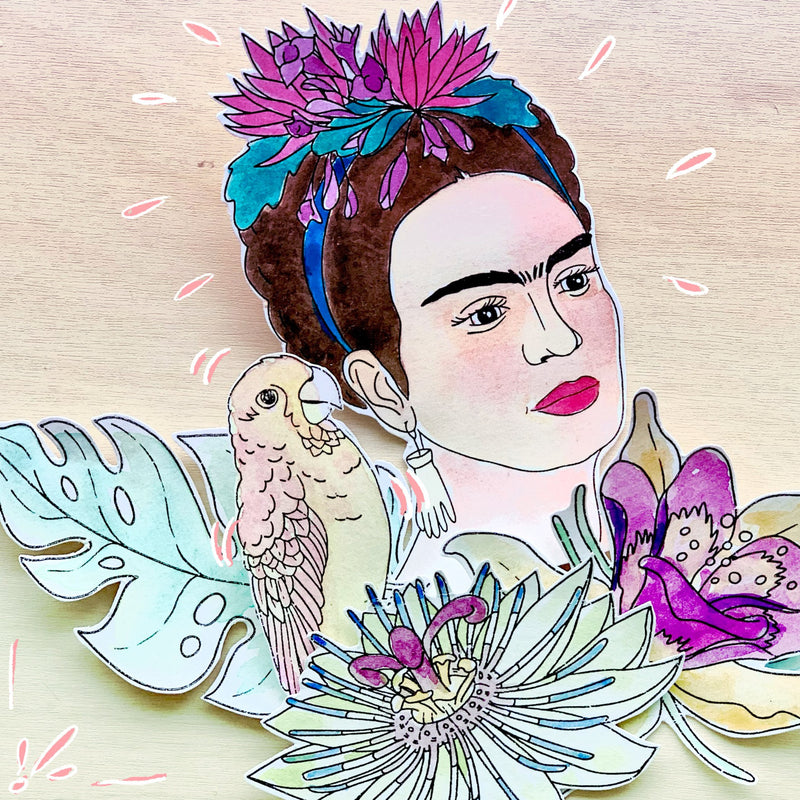 "2 Tampons transparents ""Le perroquet Bonito"" Frida Kahlo® Tampons Frida Kahlo LoveInTheMoon"