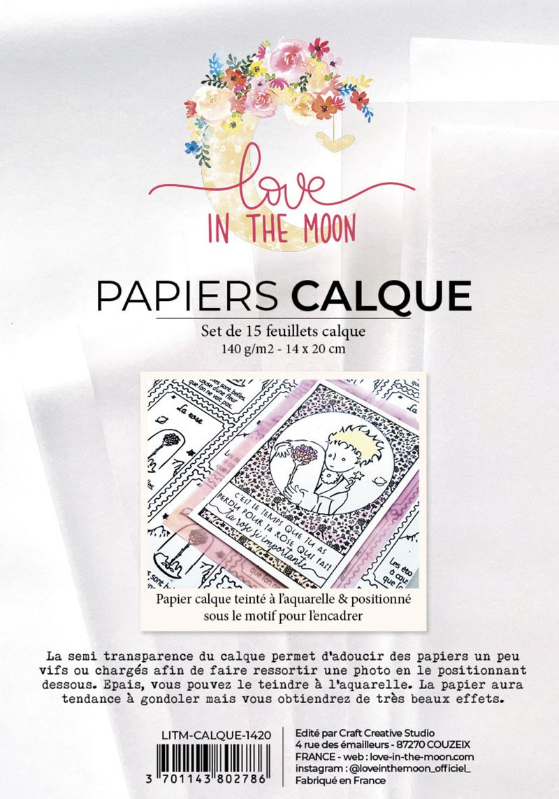 Set de 15 feuillets calque Love In The Moon Papiers LoveInTheMoon