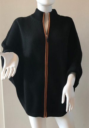 Cashmere Zip Up Poncho