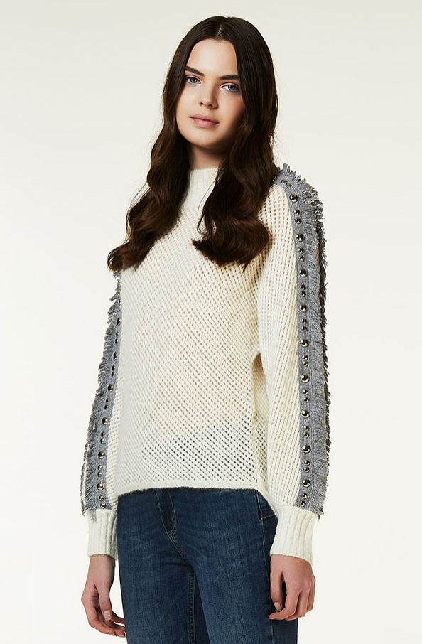 Grey Fringe Sweater