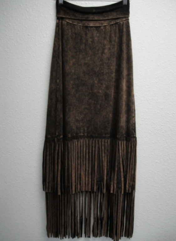 Fringed Cotton Maxi Skirt