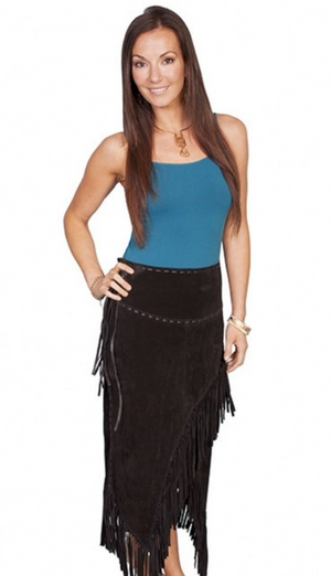 Long Fringe Suede Skirt