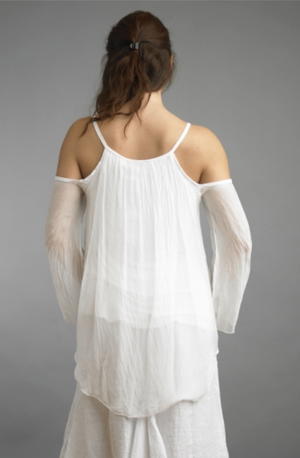 Cold Shoulder Silk Top