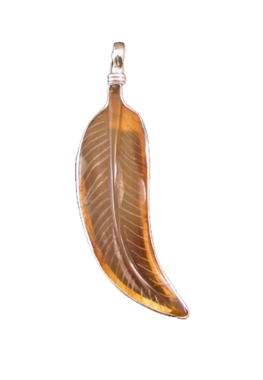 Small Horn Feather Pendant