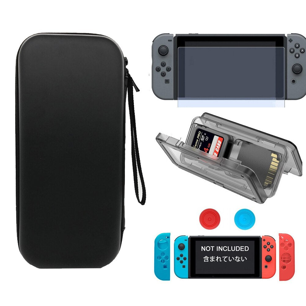 Storage Bag + Screen Tempered Glass Film + Thumb Stick Caps for Nintendo Switch - Red