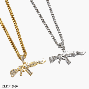 RLDN Streetwear Iced Out Gun Necklace/Chain