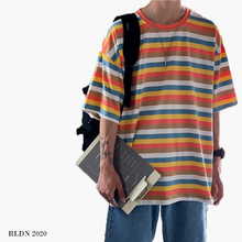 Load image into Gallery viewer, RLDN Oversized Tri-Color Striped T-Shirt