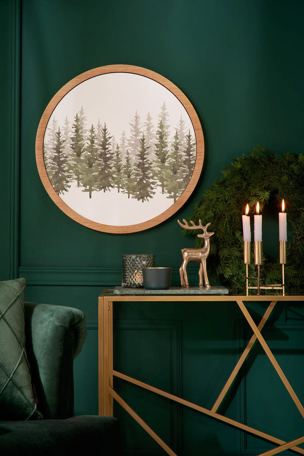 Winter forest with picture frame