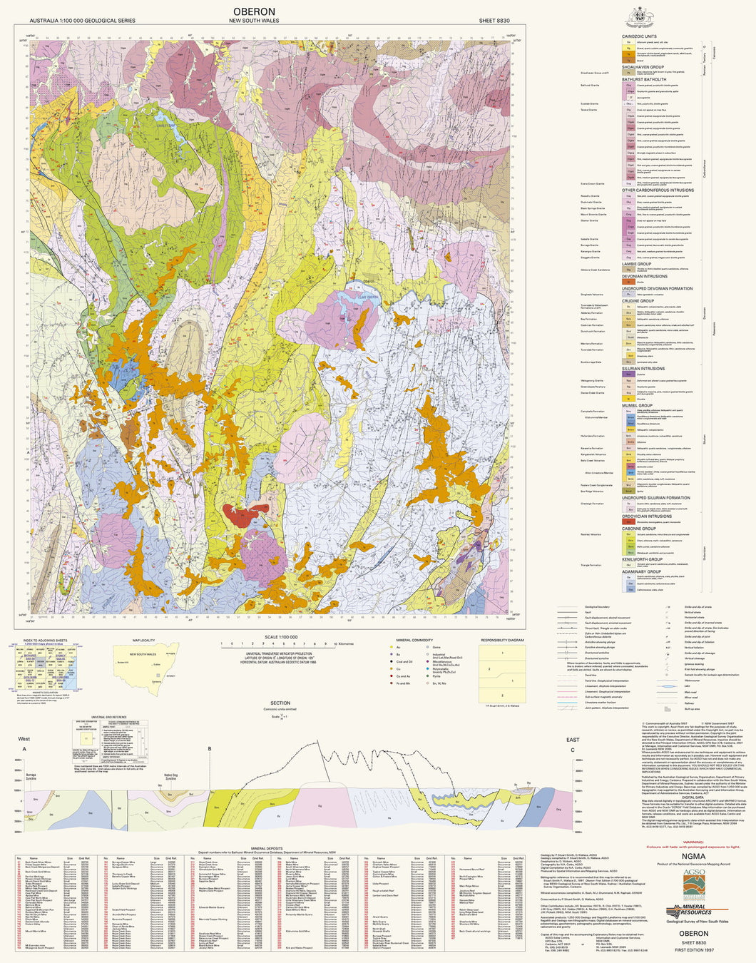 Image of Oberon 1:100000 Geological map