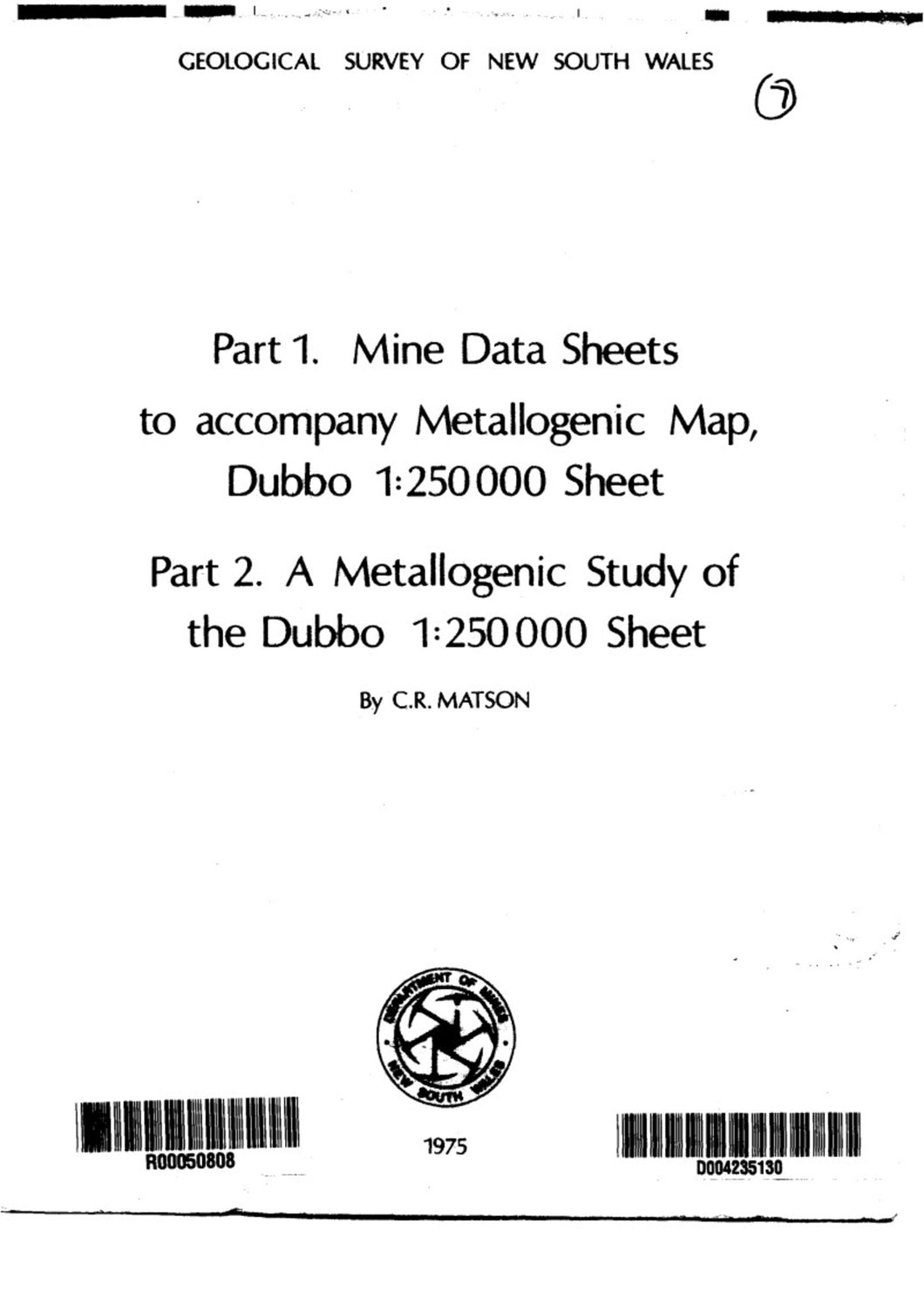 Image of Dubbo Metallogenic Map Explanatory Notes 1975 book cover