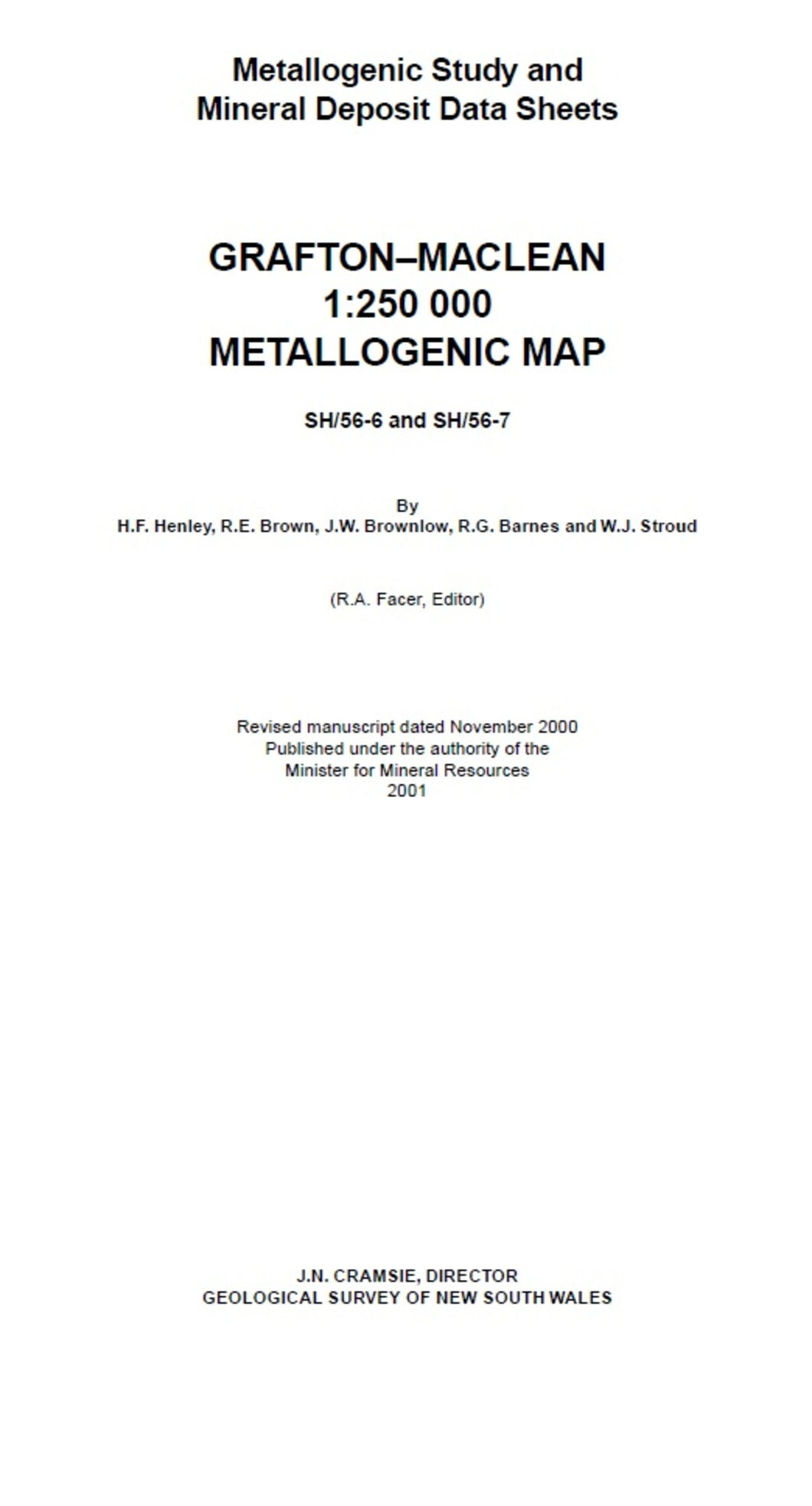 Image of Grafton Maclean Metallogenic Map Explanatory Notes 2001 book cover