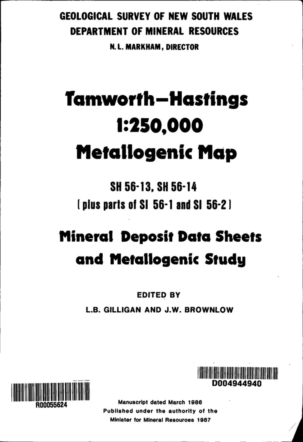 Image of Tamworth Hastings Metallogenic Map Explanatory Notes 1987 book cover