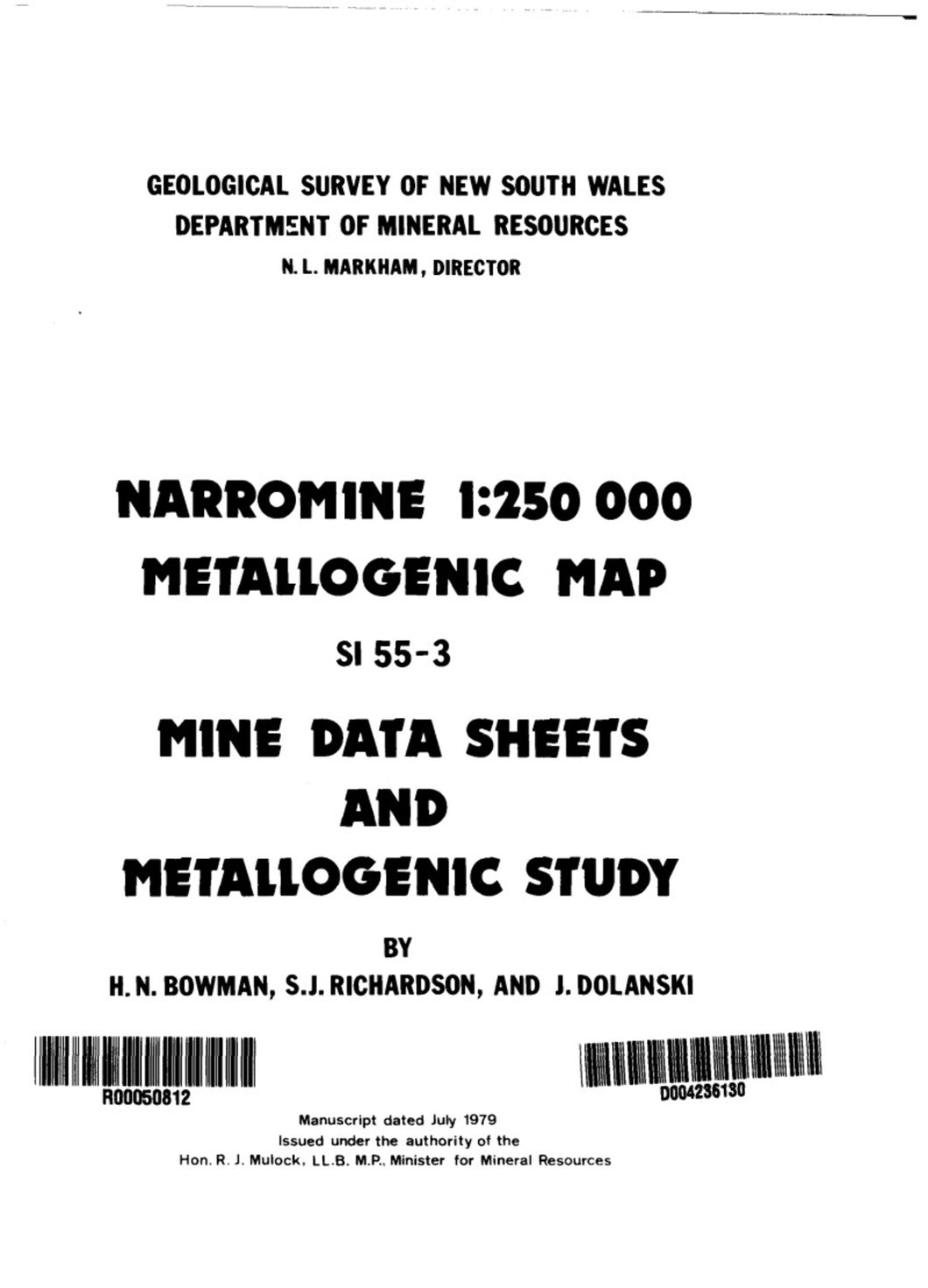 Image of Narromine Metallogenic Map Explanatory Notes 1979 book cover