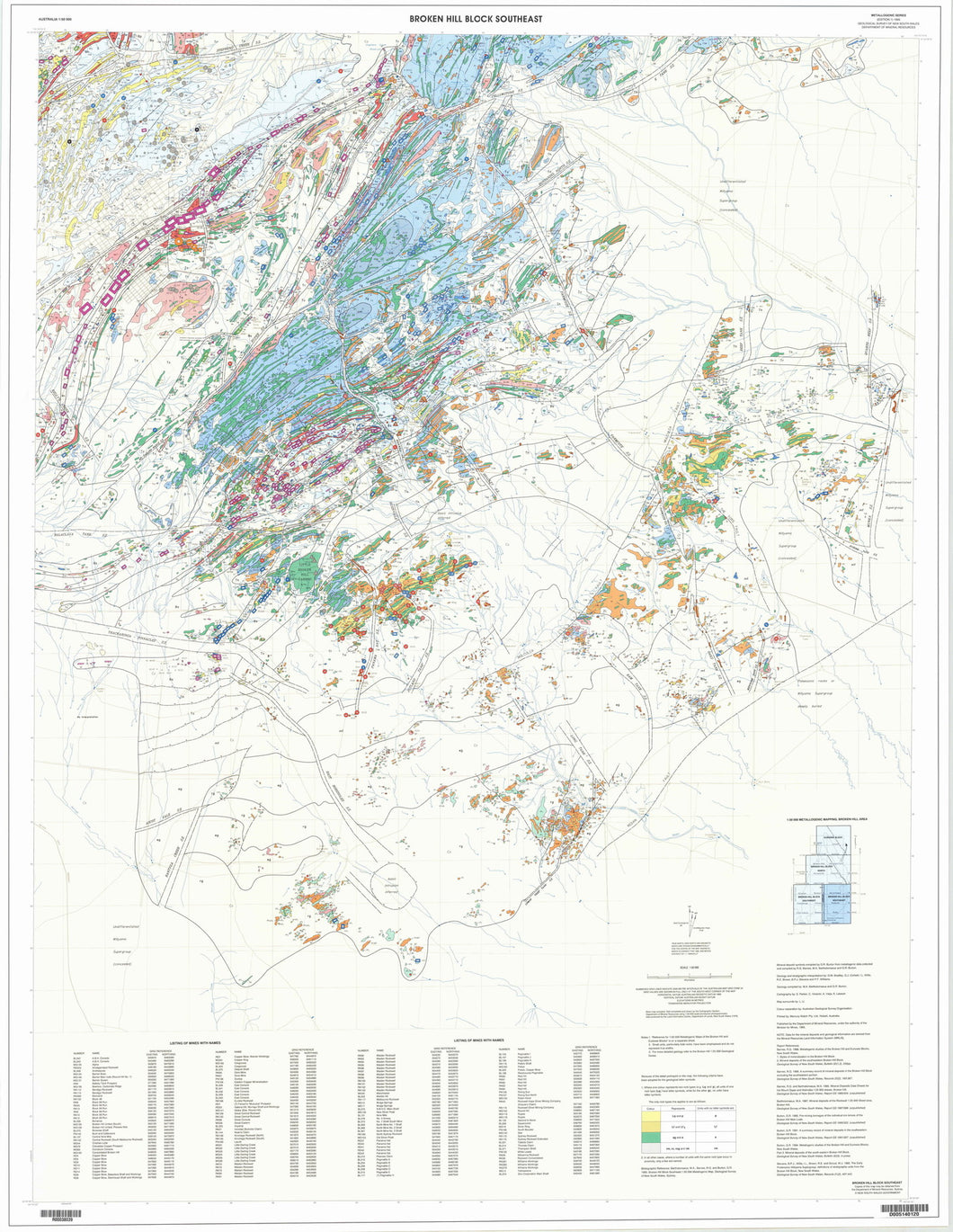 Image of Broken Hill Block Southeast 1:50000 Metallogenic map