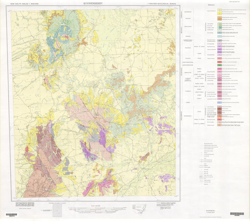Image of Koonenberry 1:500000 Geological map