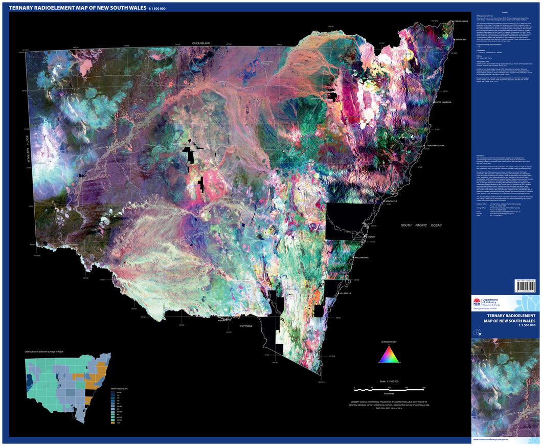 Image of Ternary radioelement map of New South Wales 1:1500000   statewide geophysics 2016  map