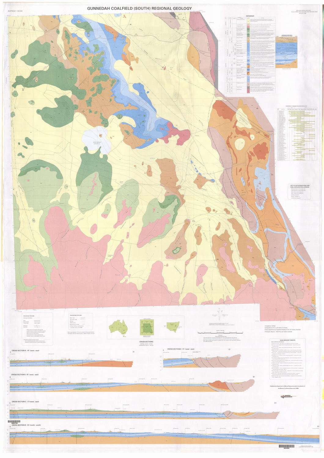 Image of Gunnedah Coalfield South Regional 1:100000 Geology map
