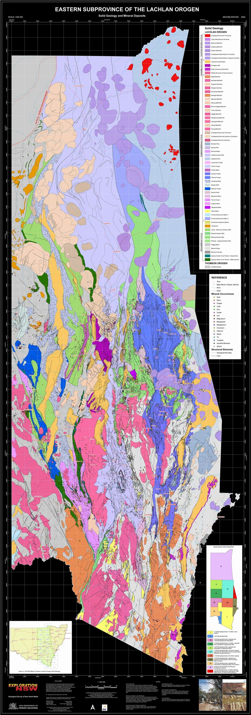Image of Eastern Subprovince of the Lachlan Orogen Solid Geology and Mineral Deposits 1:500000  map