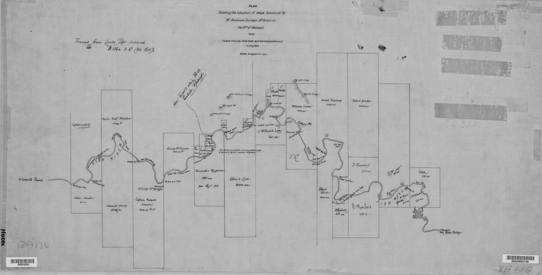 Image of Plan Showing the Situation of Gold discovered by Mr Assistant Surveyor McBrien   1823  map