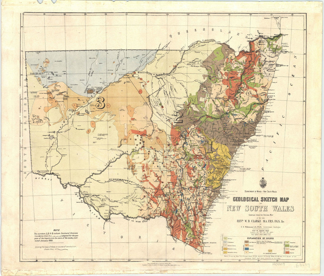 Image of Geological Sketch Map of New South Wales   1883  map