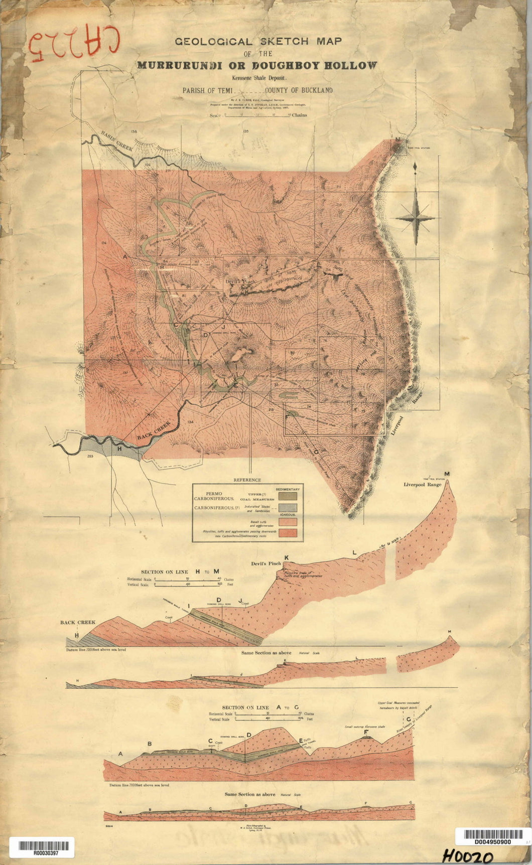 Image of Geological Map of the Murrurundi   1902  map