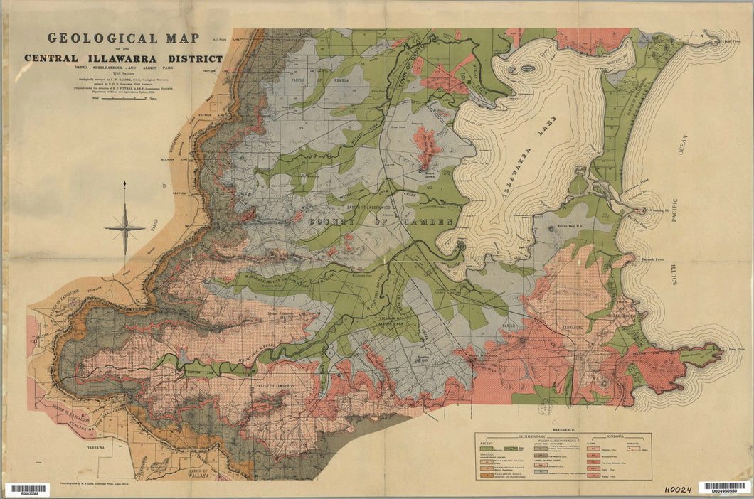 Image of Geological Map of the Central Illawarra District   1906  map