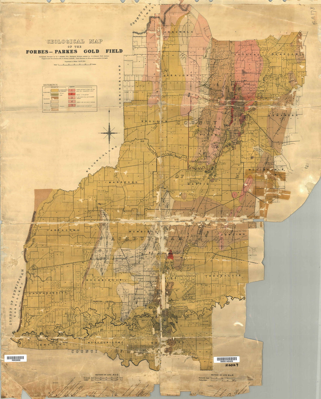Image of Geological Map of Forbes   Parkes Gold Field, 1910  map