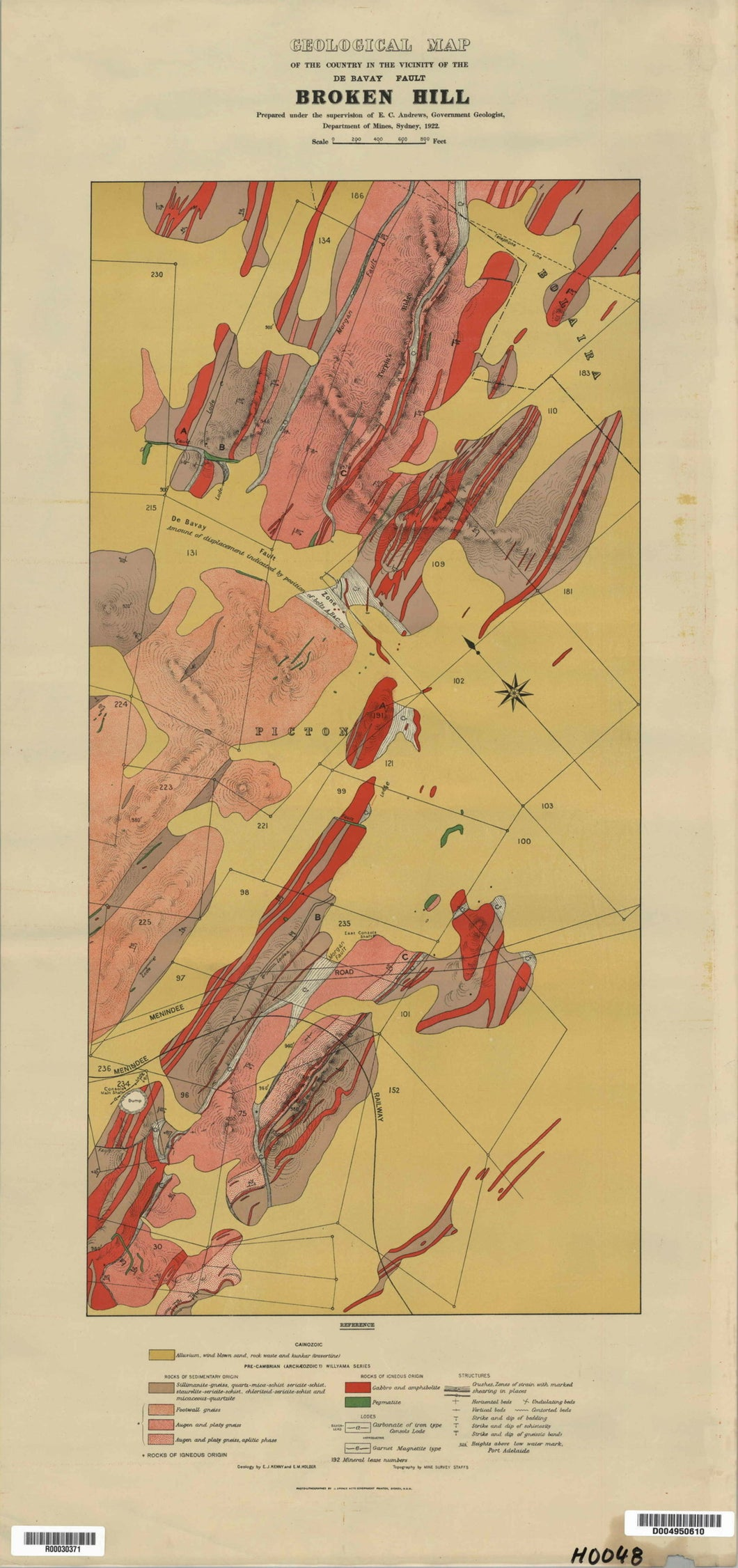 Image of Geological Map of De Bavay Fault area, Broken Hill   1922  map