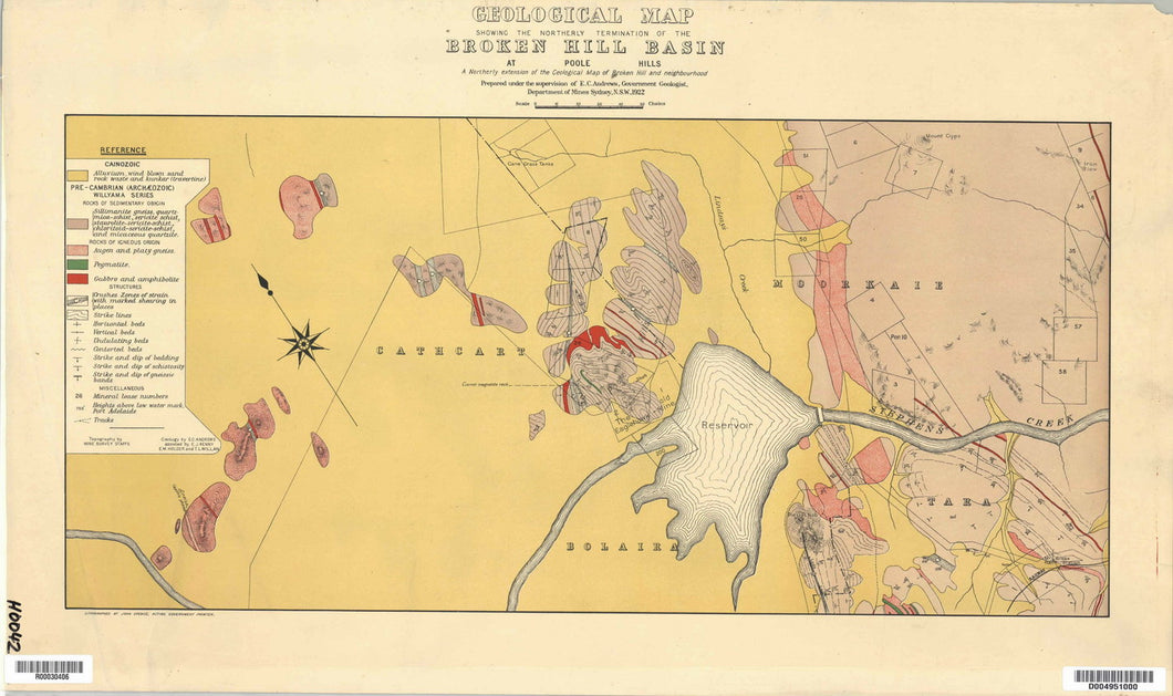 Image of Geological Map of the Broken Hill Basin   1922  map