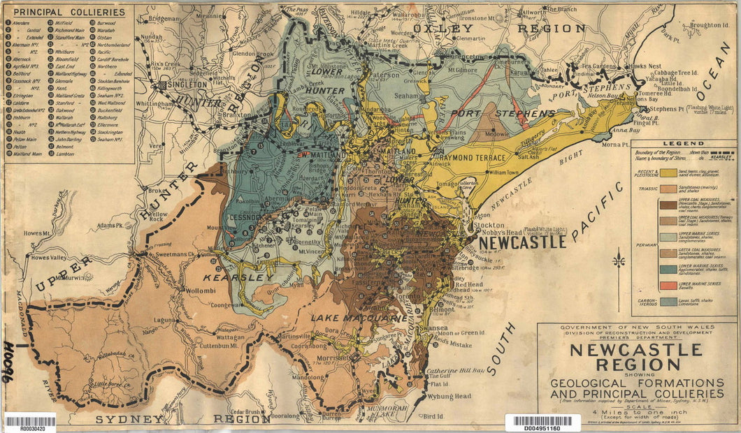 Image of Newcastle Region Map Showing Geological Formations and Principal Collieries, 1945  map