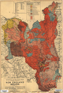 Image of New England Region Map Showing Geological Formations and Mineral Deposits, 1945  map