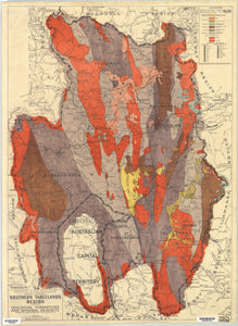 Image of Map of Southern Tablelands Region Showing Geological Formations and Mineral Deposits, 1945  map