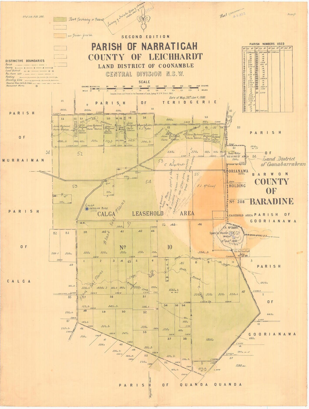 Image of County of Leichhardt, Parish of Narratigah  map