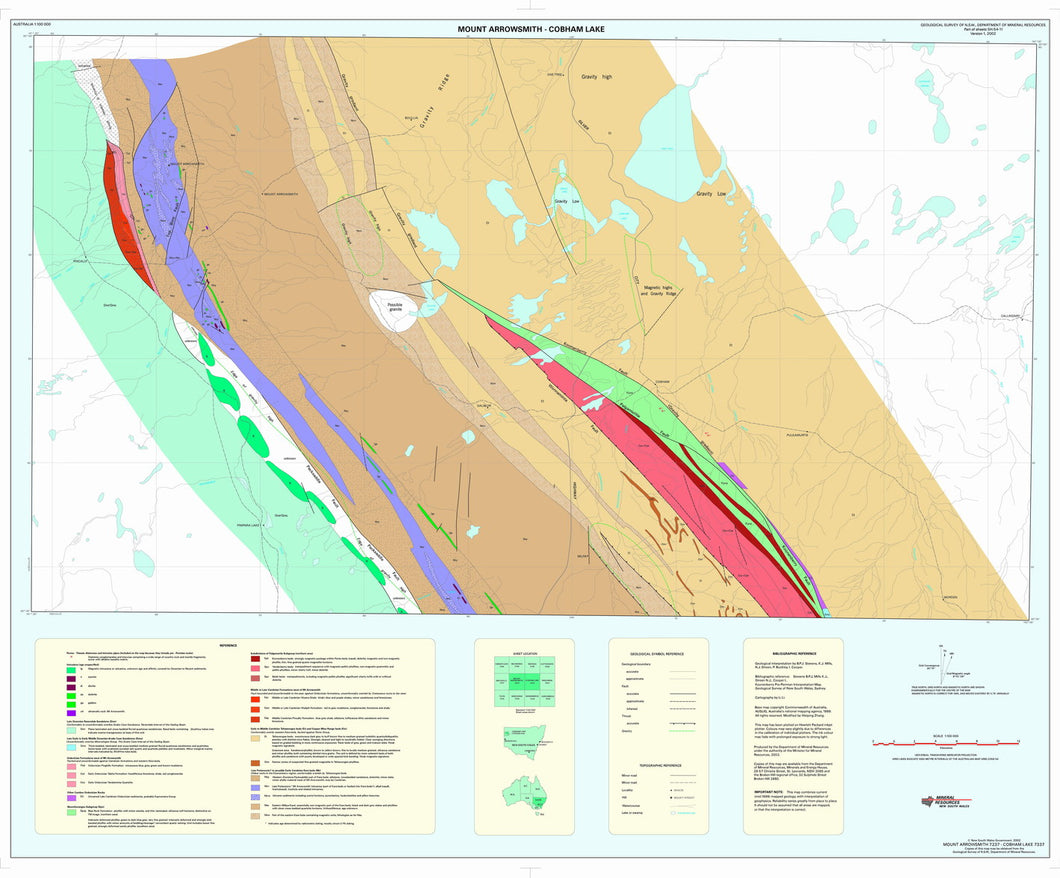 Image of Mount Arrowsmith Cobham Lake 1:100000 Geological Interpretation map