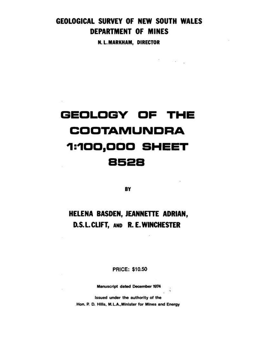 Image of Cootamundra Explanatory Notes 1975 book cover