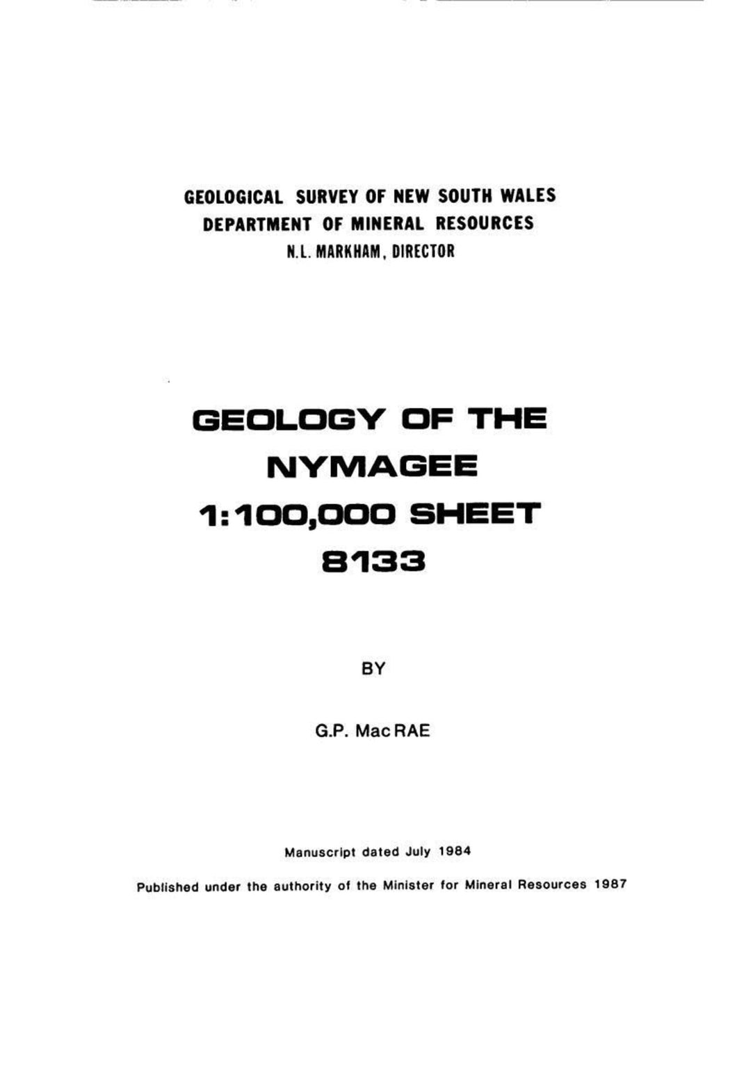 Image of Nymagee Explanatory Notes 1987 book cover
