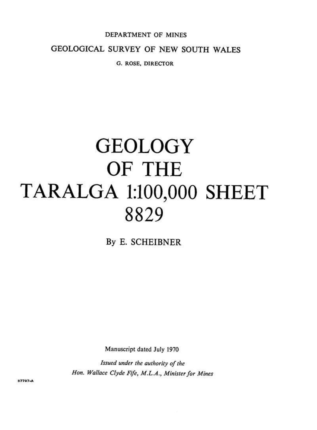 Image of Taralga Explanatory Notes 1970 book cover
