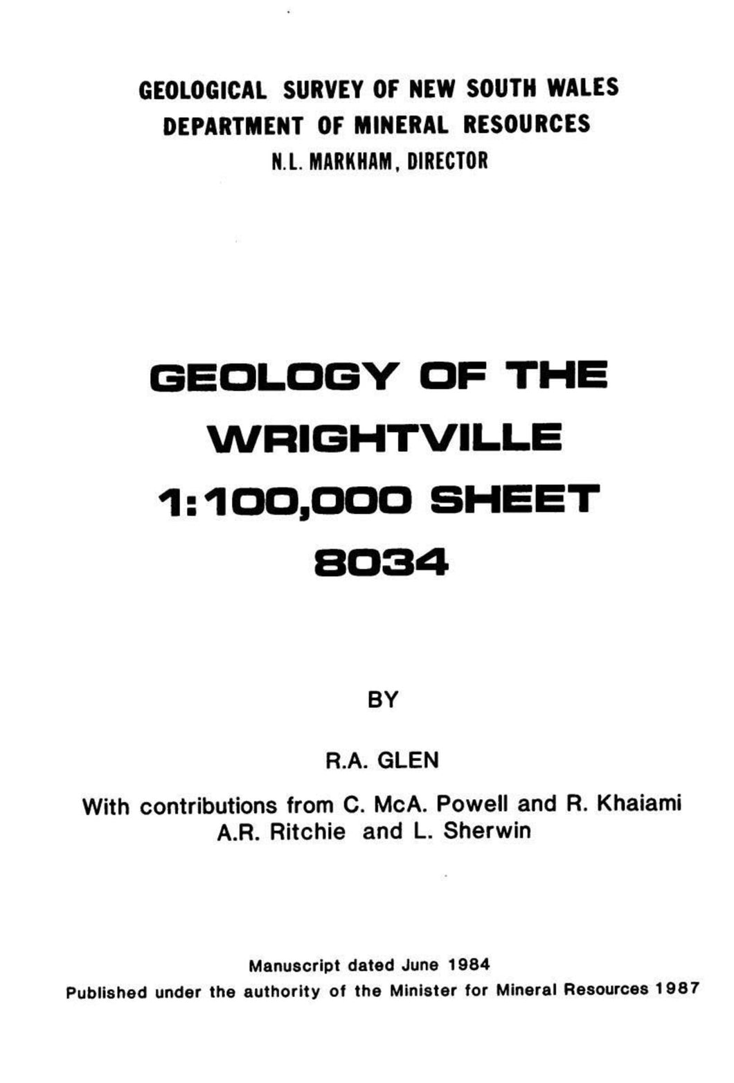 Image of Wrightville Explanatory Notes 1987 book cover