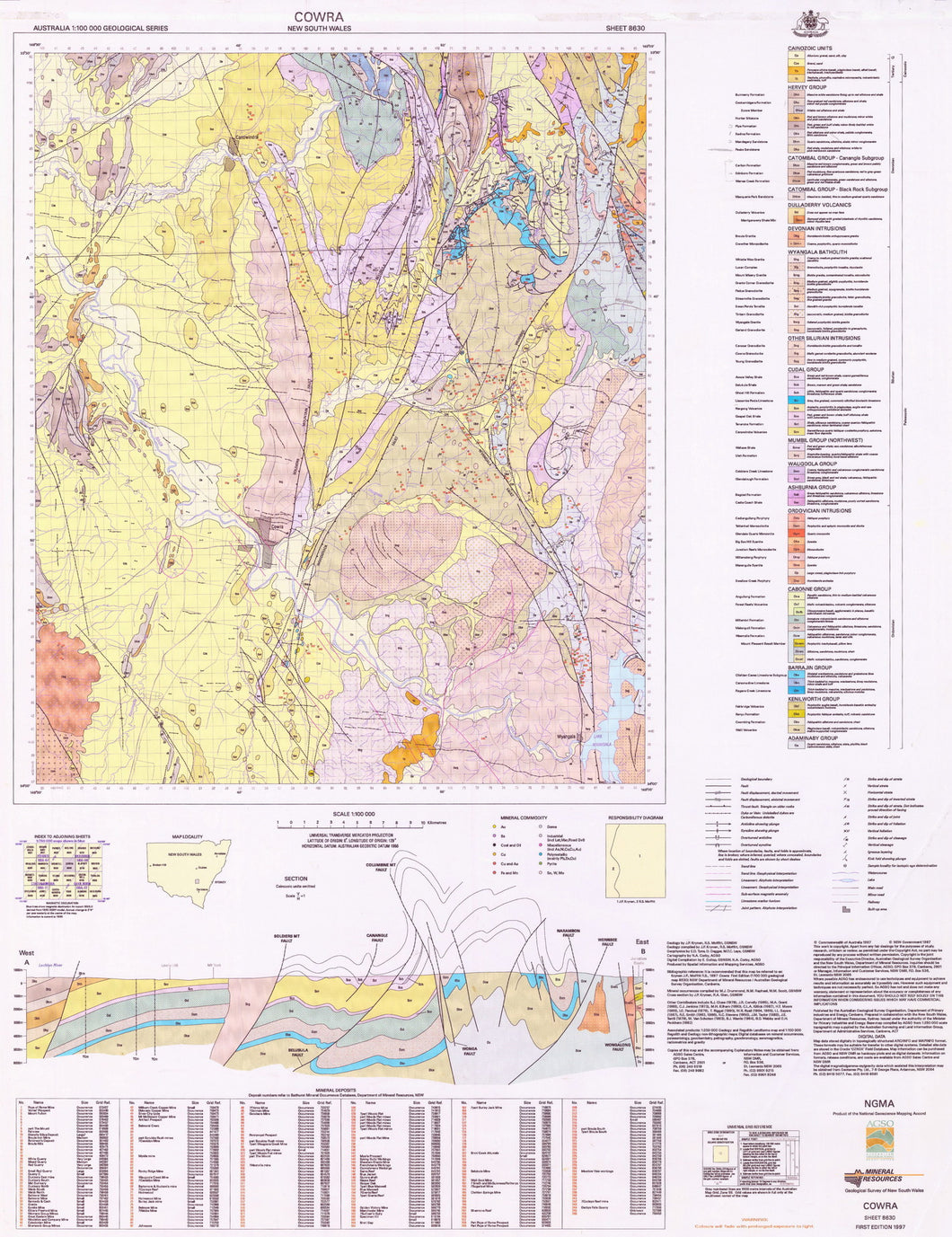 Image of Cowra 1:100000 Geological map